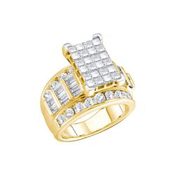 3 CTW Princess Diamond Cluster Bridal Engagement Ring 14KT Yellow Gold - REF-274X4Y