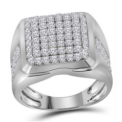 2 CTW Mens Diamond Square Cluster Fashion Ring 10KT White Gold - REF-139Y5X