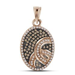0.25 CTW Red Color Diamond Oval Pendant 10KT Rose Gold - REF-18N2F