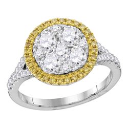 1.63 CTW Yellow Diamond Cluster Bridal Engagement Ring 18KT White Gold - REF-337Y4X