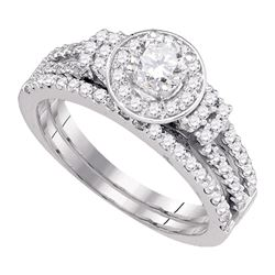 1 CTW Diamond Halo Bridal Engagement Ring 14KT White Gold - REF-149K9W