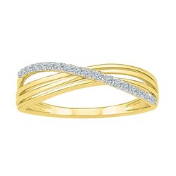 0.08 CTW Diamond Strand Crossover Ring 10KT Yellow Gold - REF-12N2F