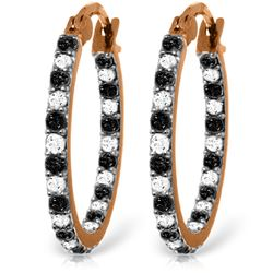 Genuine 0.81 ctw White & Black Diamond Earrings Jewelry 14KT Rose Gold - REF-116P6H