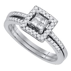 0.52 CTW Princess Diamond Bridal Engagement Ring 14KT White Gold - REF-59N9F