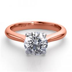 14K Rose Gold Jewelry 0.91 ctw Natural Diamond Solitaire Ring - REF#243R2M-WJ13242