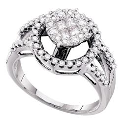 0.66 CTW Princess Diamond Soleil Cluster Bridal Engagement Ring 14KT White Gold - REF-97F4N