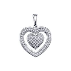0.20 CTW Diamond Double Heart Pendant 10KT White Gold - REF-18N2F
