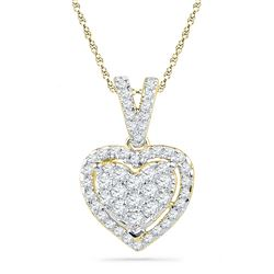 0.19 CTW Diamond Heart Love Pendant 10KT Yellow Gold - REF-12H2M