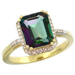 Natural 2.63 ctw Mystic-topaz & Diamond Engagement Ring 10K Yellow Gold - REF-32V7F