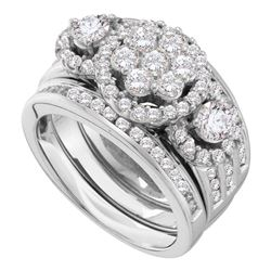 2 CTW Diamond 3-Piece Bridal Engagement Ring 14KT White Gold - REF-269X9Y