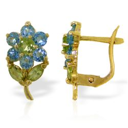 Genuine 2.12 ctw Blue Topaz & Peridot Earrings Jewelry 14KT Yellow Gold - REF-36R8P