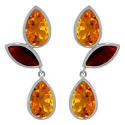 Genuine 13 ctw Citrine & Garnet Earrings Jewelry 14KT White Gold - REF-58R7P