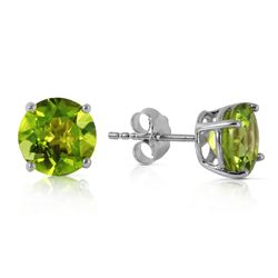 Genuine 3.1 ctw Peridot Earrings Jewelry 14KT White Gold - REF-23Z9N