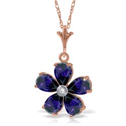 Genuine 2.22 ctw Sapphire & Diamond Necklace Jewelry 14KT Rose Gold - REF-36T3A