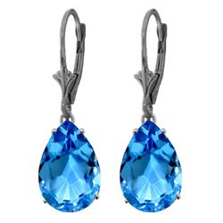 Genuine 13 ctw Blue Topaz Earrings Jewelry 14KT White Gold - REF-48M4T