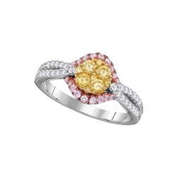 0.80 CTW Yellow Diamond Cluster Bridal Engagement Ring 14KT White Gold - REF-97W4K