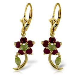 Genuine 1.72 ctw Peridot & Ruby Earrings Jewelry 14KT Yellow Gold - REF-49T8A