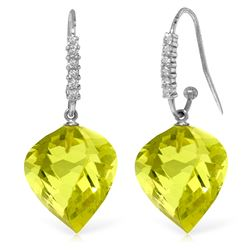 Genuine 21.68 ctw Lemon Quartz & Diamond Earrings Jewelry 14KT White Gold - REF-58V2W