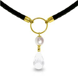 Genuine 9 ctw White Topaz & Pearl Necklace Jewelry 14KT Yellow Gold - REF-54V5W