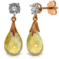Genuine 6.06 ctw Citrine & Diamond Earrings Jewelry 14KT Rose Gold - REF-37X4M