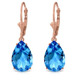 Genuine 13 ctw Blue Topaz Earrings Jewelry 14KT Rose Gold - REF-48K4V