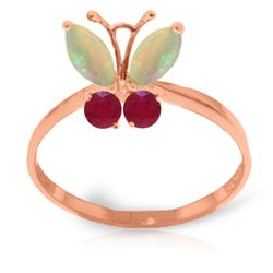 Genuine 0.70 ctw Opal & Ruby Ring Jewelry 14KT Rose Gold - REF-30A5K