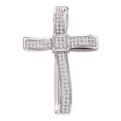 0.25 CTW Diamond Roman Cross Pendant 10KT White Gold - REF-26F9N
