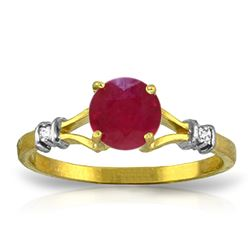 Genuine 1.02 ctw Ruby & Diamond Ring Jewelry 14KT Yellow Gold - REF-30T9A
