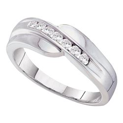 0.25 CTW Mens Channel-set Diamond Curved Wedding Ring 14KT White Gold - REF-37K5W