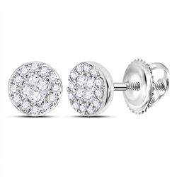 0.15 CTW Princess Diamond Soleil Cluster Earrings 10KT White Gold - REF-18H7M