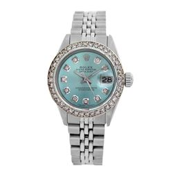 Rolex Pre-owned 26mm Womens Custom Ice Blue Dial Stainless Steel - REF-470M2R