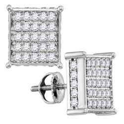 1.04 CTW Pave-set Diamond Square Cluster Earrings 10KT White Gold - REF-71N3F