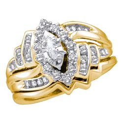 0.48 CTW Marquise Diamond Bridal Engagement Ring 14KT Yellow Gold - REF-87X2Y