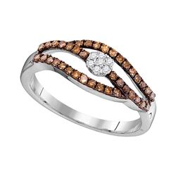 0.35 CTW Cognac-brown Color Diamond Strand Cluster Ring 10KT White Gold - REF-20X9Y