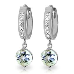Genuine 2.28 ctw Aquamarine & Diamond Earrings Jewelry 14KT White Gold - REF-56T2A