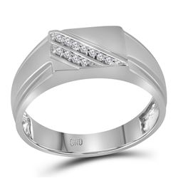 0.08 CTW Mens Diamond Diagonal Row Flat Top Fashion Ring 10KT White Gold - REF-18W2K