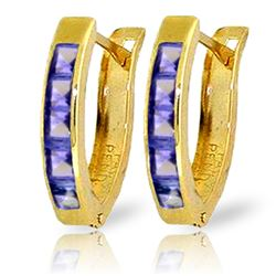 Genuine 0.95 ctw Tanzanite Earrings Jewelry 14KT Yellow Gold - REF-30H9X