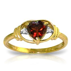 Genuine 0.96 ctw Garnet & Diamond Ring Jewelry 14KT Yellow Gold - REF-40K3V