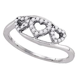 0.19 CTW Diamond Heart Love Ring 10KT White Gold - REF-16M4H