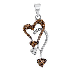 0.20 CTW Cognac-brown Color Diamond Double Heart Droplet Pendant 10KT White Gold - REF-10W5K
