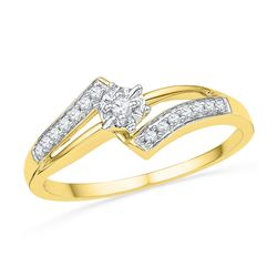 0.10 CTW Diamond Solitaire Bridal Engagement Ring 10KT Yellow Gold - REF-14Y9X
