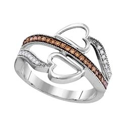 0.20 CTW Cognac-brown Color Diamond Heart Crossover Ring 10KT White Gold - REF-22K4W