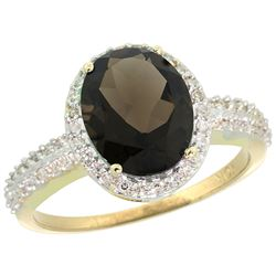 Natural 2.56 ctw Smoky-topaz & Diamond Engagement Ring 10K Yellow Gold - REF-32X7A