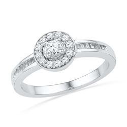 0.33 CTW Diamond Solitaire Bridal Engagement Ring 10KT White Gold - REF-32X9Y