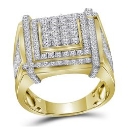 2.7 CTW Mens Diamond Square Cluster Ring 10KT Yellow Gold - REF-179F9N