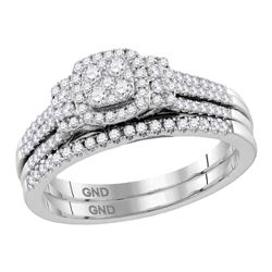 0.50 CTW Diamond Cluster Bridal Engagement Ring 10KT White Gold - REF-75Y2X