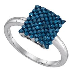 0.50 CTW Blue Color Diamond Rectangle Cluster Ring 10KT White Gold - REF-22Y4X