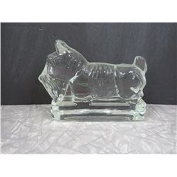"Glass Scotty Dog Paper Weight 7""x5"""