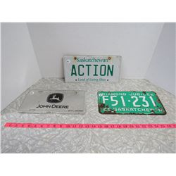Lot of 3 License Plates-JD,Action,65 Sask
