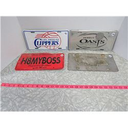 Lot of 4 License Plates-H8MYBOSS,Clippers,Oasis,Chevy